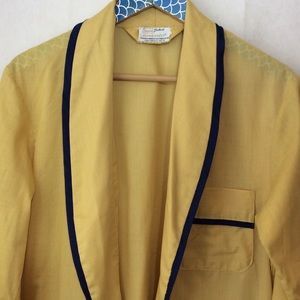 Vintage Sears Student Mustard Yellow Navy Robe